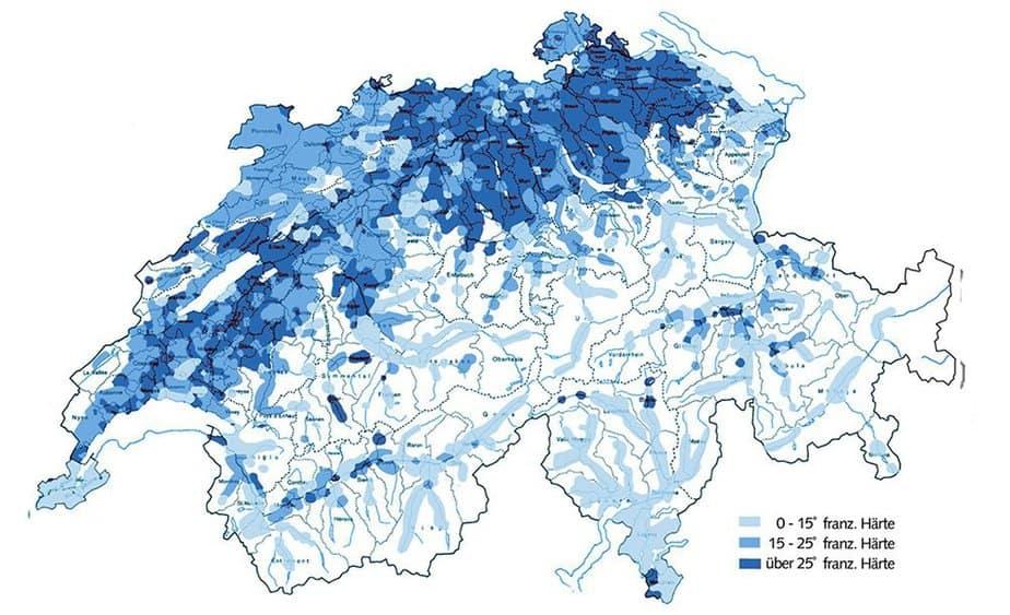Karte der Wasserhärte in der Schweiz